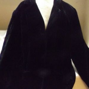 Womens Black Velvet Type Blazer Jacket 22W